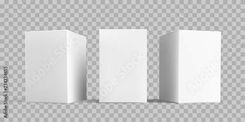 Obraz White box package mock-up set. Vector isolated 3D white carton cardboard or paper package boxes models templates on transparent background - fototapety do salonu