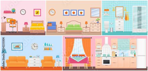 Room interiors. Vector. Living room, bedroom, bathroom ...