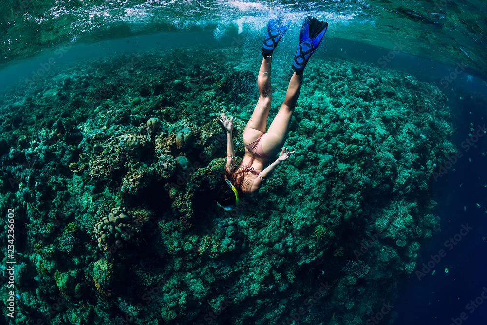 Fototapety, obrazy: Woman free diver dive in the tropical ocean