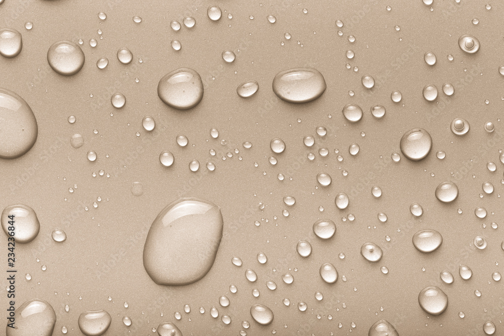 Fototapety, obrazy: Drops of water on a color background. Beige. Toned