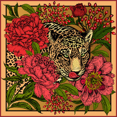 Panel Szklany Vintage Print with animal leopard and flowers peonies.