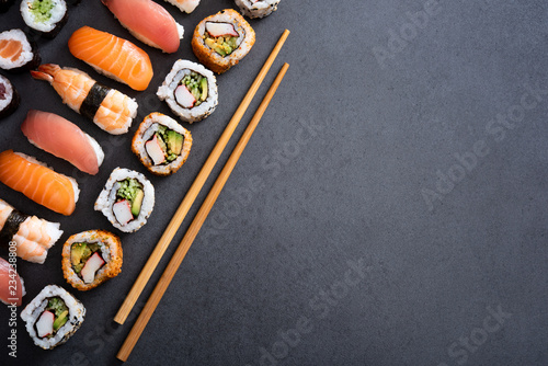 Photo Stands Sushi bar Set of sushi food with copy space
