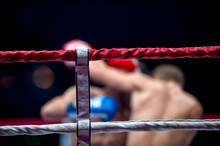 Thai Boxing Ring Rope With Blurred Background