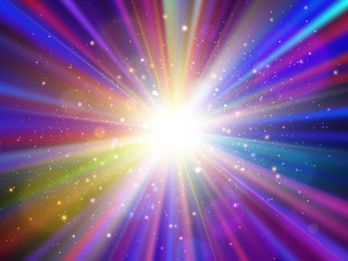 Light effect. Star burst with sparkles. Colorful vector explosion.