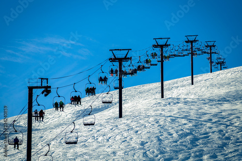 Beautiful. winter landscape on snowy mountains in France, Tignes. Ski resort on sunny day. The view on ski lift.