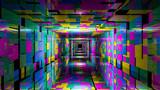 Fototapeta Do przedpokoju - 3d render abstract background. Long corridor.