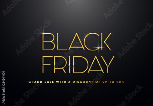 Fototapety, obrazy: Black Friday golden vector illustration