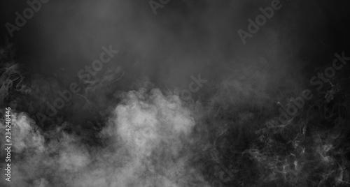 Poster Fumee Fog or smoke isolated special effect. White cloudiness, mist or smog background.