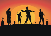 Vector Silhouette Of A Crowd Of Zombies In A Cemetery, Tombstones In A Cemetery Under  Moon