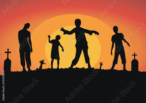 vector silhouette of a crowd of zombies in a cemetery, tombstones in a cemetery Canvas Print