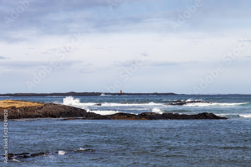 Stormy sea landscape in the Iceland