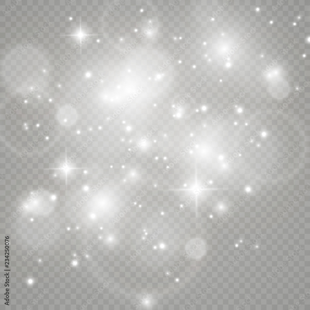 Fototapety, obrazy: White sparks and golden stars glitter special light effect. Vector sparkles on transparent background. Christmas abstract pattern. Sparkling magic dust particles