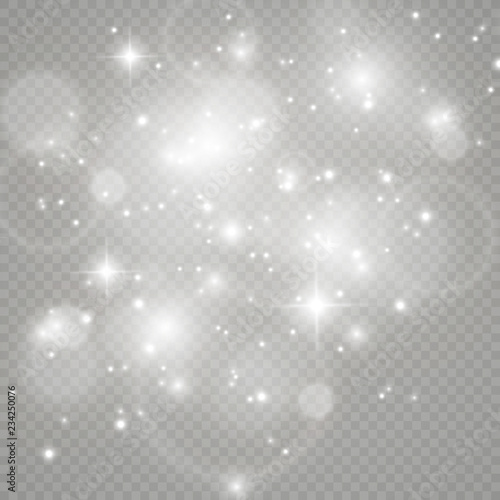 Fotografia White sparks and golden stars glitter special light effect