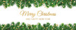 Banner with Merry Christmas text. Christmas tree frame, garland with ornaments