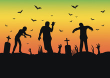 Vector Silhouette Of A Crowd Of Zombies In A Cemetery, Tombstones In A Cemetery