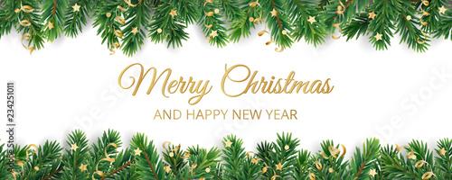 Fototapeta Banner with Merry Christmas text. Christmas tree frame, garland with ornaments obraz na płótnie