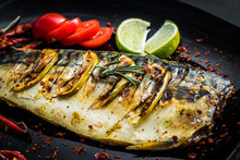 Grilled Mackerel Fish With Lim...