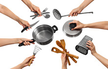 Cooking Equipment In The Hands Of People
