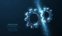 Gears. Abstract Vector Wireframe Two Gear 3d Modern Illustration On Dark Blue Background.