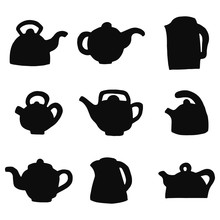Teapots Silhouettes Vector Icons Set. Isolated Objects
