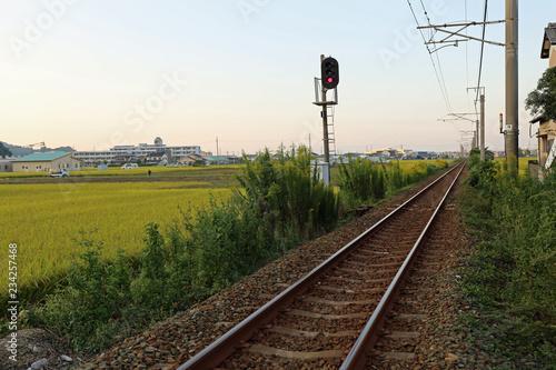 鉄道の線路と稲穂