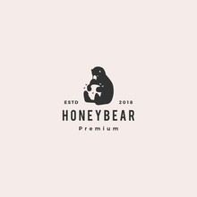 Honey Bear Logo Hipster Retro Vintage Vector Icon Illustration Label