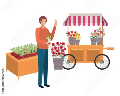 man seller of flowers in kiosk store avatar character Fotobehang