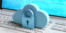 Cloud Computing And Cyber Security, Data Protective Shield. Blue Cloud And Padlock On A Computer. 3d Illustration