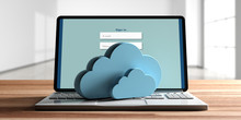 Computer Cloud Concept, Login On The Computer Screen, Office Background. 3d Illustration