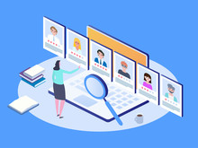 Job Interview, Recruitment Agency. Isometric Hiring And Recruitment Concept.