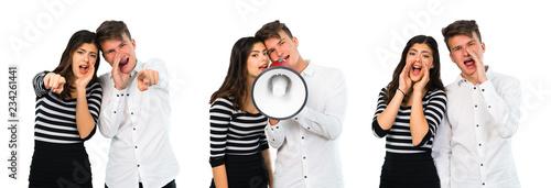 Collage of Young teenager couple shouting Tapéta, Fotótapéta