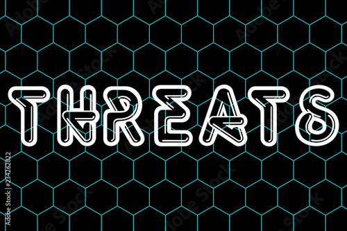 Fotografía  THREATS Text 3D ILLUSTRATIONS Sci Fi technology with abstract background Online