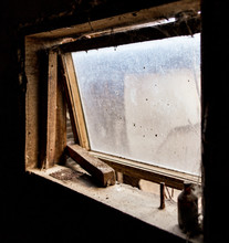 Old Window In Dark Barn As Background