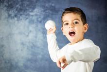 Little Making A Throw Ball Of Baseball