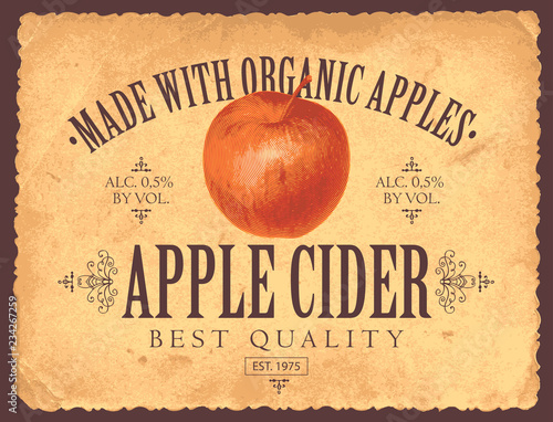 Photographie Vector label for apple cider with realistic image of an apple in retro style on