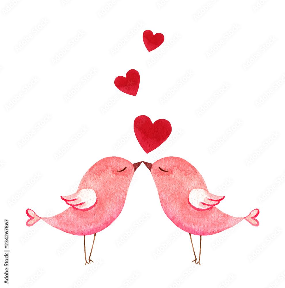 Fototapeta Happy Valentine's day watercolor vector illustration.