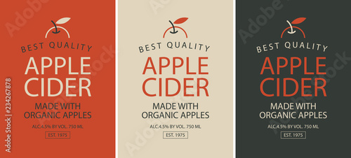Photo Vector set of three labels of different colors for Apple cider with apple