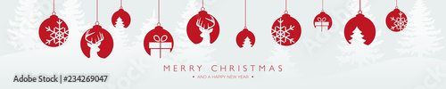 Foto  christmas banner with hanging decorations merry christmas