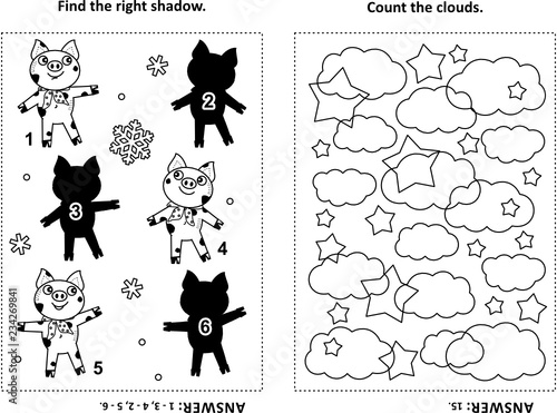 Two visual puzzles and coloring page for kids. Find the ...