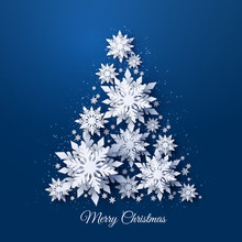 Vector Christmas And Happy New Year Holidays Greeting Card With Christmas Tree Made Of White Realistic 3d Paper Cut Layered Snowflakes On Dark Blue Background