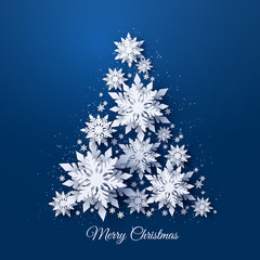 Obraz na PlexiVector Christmas and Happy New Year holidays greeting card with Christmas tree made of white realistic 3d paper cut layered snowflakes on dark blue background