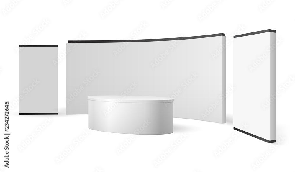 Fototapeta White exhibition stand. Blank trade show booth promotional display. Event panel vector 3d isolated template. Illustration of stand mockup for promotion and presentation news studio