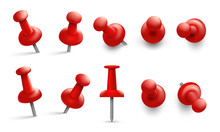 Push Pin In Different Angles. Red Thumbtack For Attachment. Pushpins With Metal Needle And Red Head Isolated Vector Set. Pushpin Needle, Red Attach Thumbtack Illustration