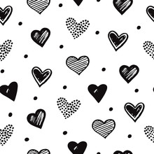 Sketch Hearts Seamless Pattern...