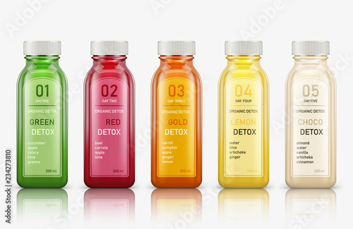 Various fresh vegetable detox juices, colourful smoothies in the bottle on a white background Fototapeta