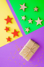 Fashion Multi Colored Background With Gift Or Present Box, Stars