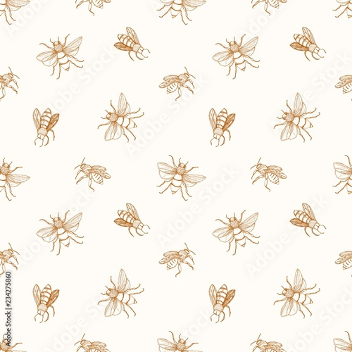 Cotton fabric Seamless pattern with honey bees drawn with contour lines on light background. Apiculture or beekeeping backdrop. Monochrome vector illustration in elegant antique style for wrapping paper, wallpaper.