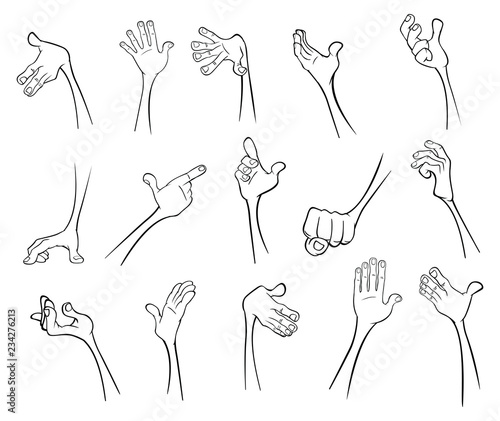 A Set of Vector Cartoon Illustrations. Hands with Different Gestures for you Design.Coloring Book. Outline