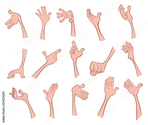 Deurstickers Babykamer A Set of Vector Cartoon Illustrations. Hands with Different Gestures for you Design