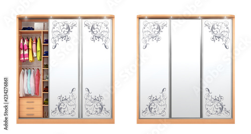 Fototapeta collection of cabinets with decoration on berkalah isolated on a white background. 3d illustration obraz